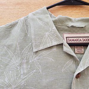 JAMAICA JAXX Mens Green Silk Shirt Tropical XL